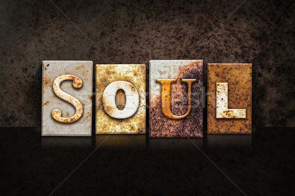 Soul Letterpress Concept on Dark Background Stock photo © enterlinedesign