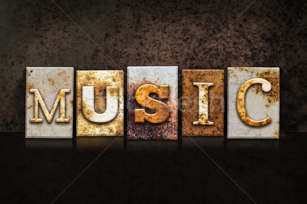 Music Letterpress Concept on Dark Background Stock photo © enterlinedesign