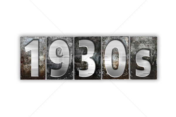 1930 geïsoleerd metaal type woord Stockfoto © enterlinedesign
