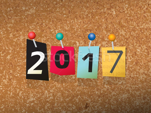 2017 Pinned Paper Concept Illustration Stock photo © enterlinedesign