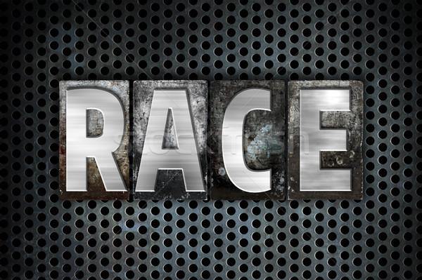 Race Concept Metal Letterpress Type Stock photo © enterlinedesign