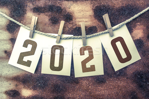 2020 Concept Pinned Stamped Cards on Twine Theme Stock photo © enterlinedesign