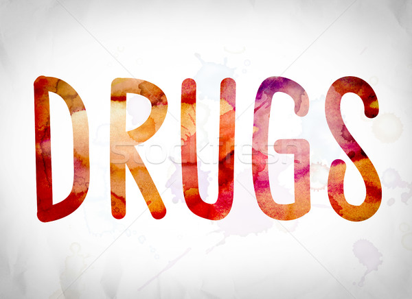 Drugs Concept Watercolor Word Art Stock photo © enterlinedesign