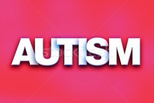 Autismus farbenreich Wort Kunst geschrieben weiß Stock foto © enterlinedesign