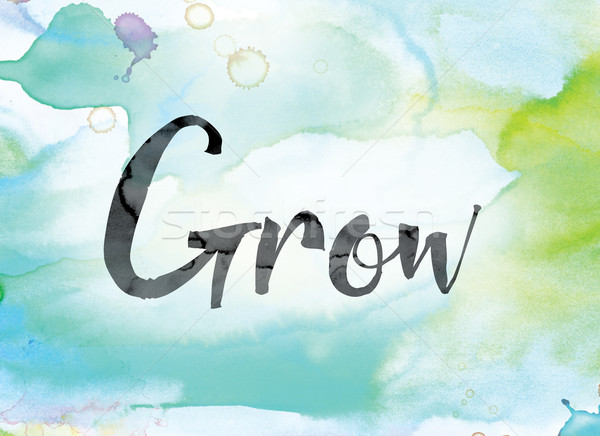 Grow Colorful Watercolor and Ink Word Art Stock photo © enterlinedesign