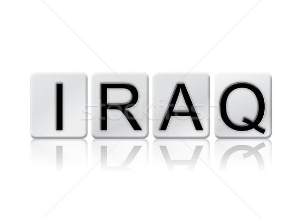 Iraque isolado azulejos cartas palavra escrito Foto stock © enterlinedesign