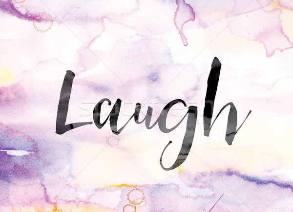 Stok fotoğraf: Gülmek · renkli · suluboya · mürekkep · kelime · sanat