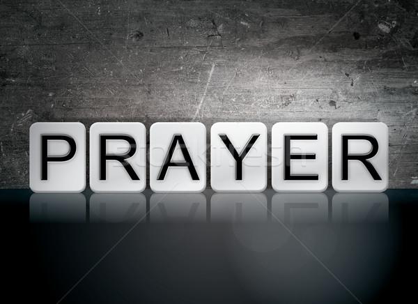 祈り タイル張りの 文字 言葉 書かれた 白 ストックフォト © enterlinedesign