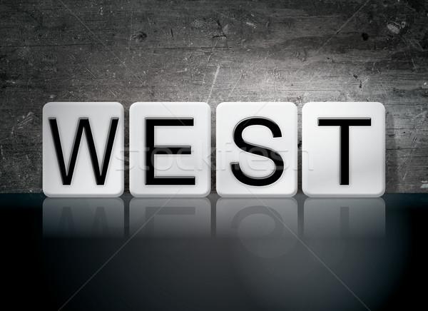Запад плиточные письма слово написанный белый Сток-фото © enterlinedesign