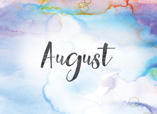 August Concept Watercolor and Ink Painting Stock photo © enterlinedesign