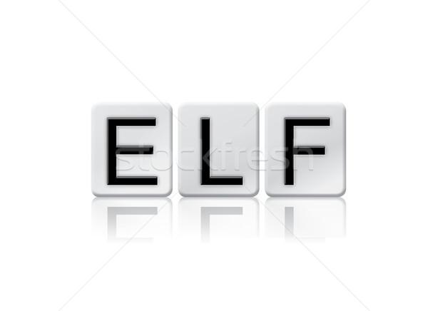 Elfo azulejos palavra isolado branco escrito Foto stock © enterlinedesign
