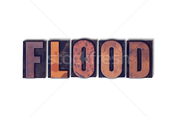 наводнения изолированный слово написанный Vintage Сток-фото © enterlinedesign
