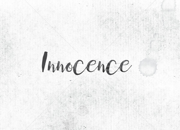 Innocence peint encre mot noir couleur pour aquarelle Photo stock © enterlinedesign
