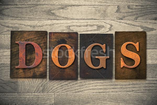 Dogs Wooden Letterpress Theme Stock photo © enterlinedesign
