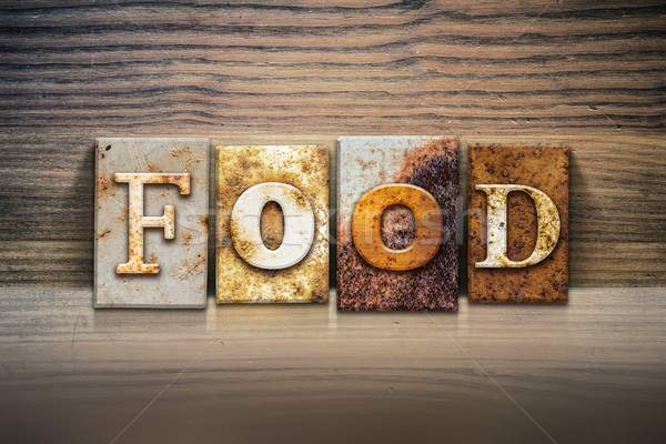 продовольствие слово написанный ржавые металл Сток-фото © enterlinedesign