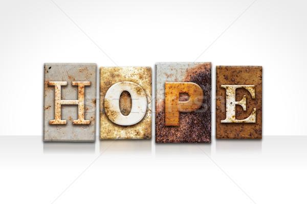Foto stock: Esperança · isolado · branco · palavra · escrito