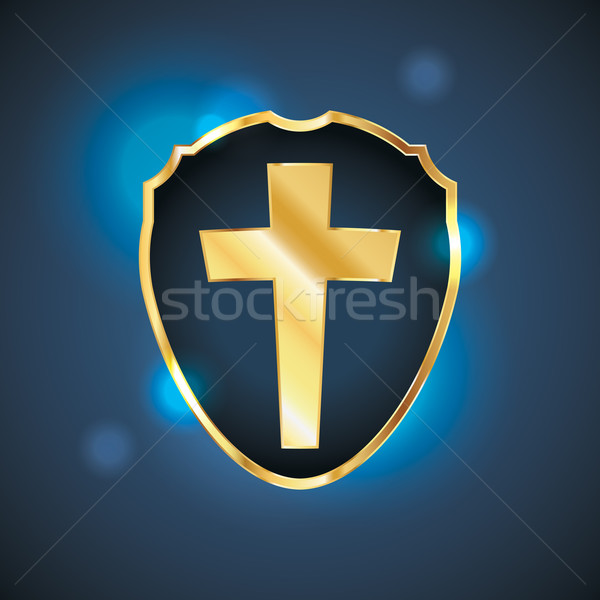 Blu christian cross scudo illustrazione badge Foto d'archivio © enterlinedesign