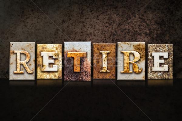 Retire Letterpress Concept on Dark Background Stock photo © enterlinedesign
