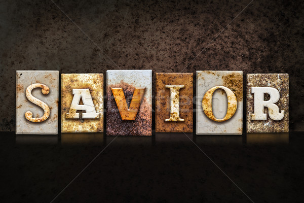 Savior Letterpress Concept on Dark Background Stock photo © enterlinedesign