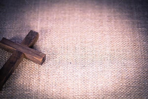 Cristão atravessar pano de saco Foto stock © enterlinedesign