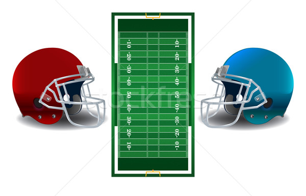 American Football Helmets and Field Illustration Stock photo © enterlinedesign