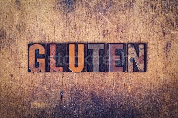 Gluten houten type woord geschreven Stockfoto © enterlinedesign