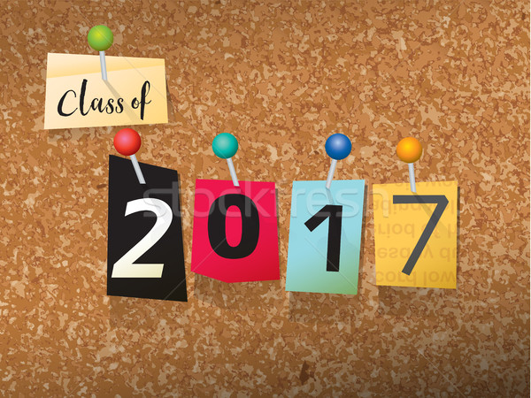 Class of 2017 Pinned Paper Concept Illustration Stock photo © enterlinedesign