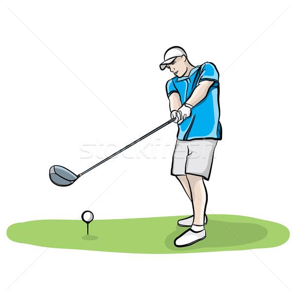 гольфист клуба рисованной иллюстрация окна мяч для гольфа Сток-фото © enterlinedesign