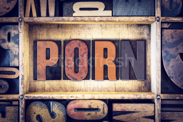 Porn Concept Letterpress Type Stock photo © enterlinedesign