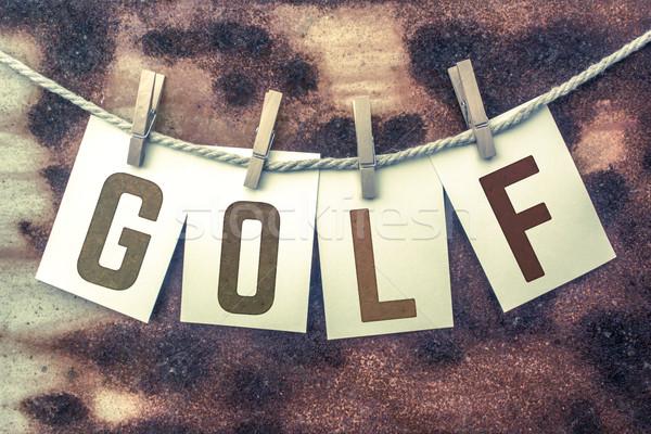 Golf kártyák zsinór szó öreg darab Stock fotó © enterlinedesign