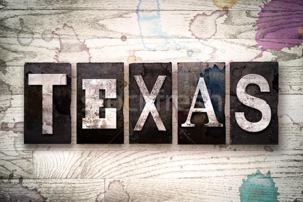 Texas metal tipo palabra escrito Foto stock © enterlinedesign