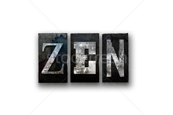 Zen geïsoleerd type woord geschreven Stockfoto © enterlinedesign