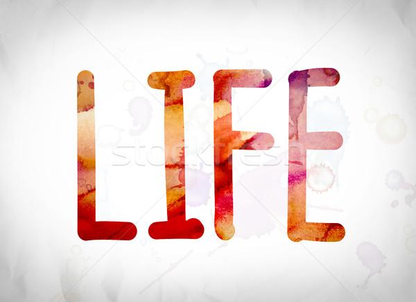 życia akwarela słowo sztuki napisany biały Zdjęcia stock © enterlinedesign
