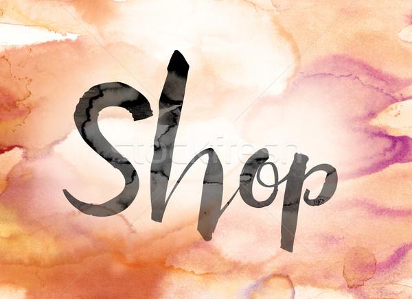 Stockfoto: Winkel · kleurrijk · aquarel · inkt · woord · kunst