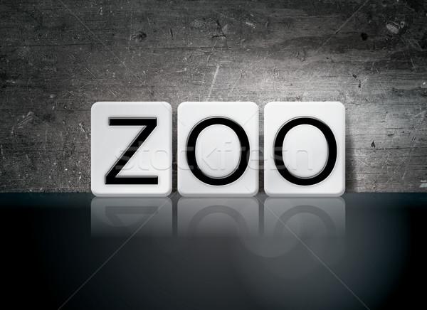 Zoo carrelage lettres mot écrit blanche Photo stock © enterlinedesign
