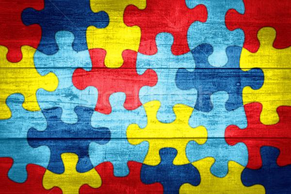 Peças do puzzle autismo consciência cores ilustração colorido Foto stock © enterlinedesign