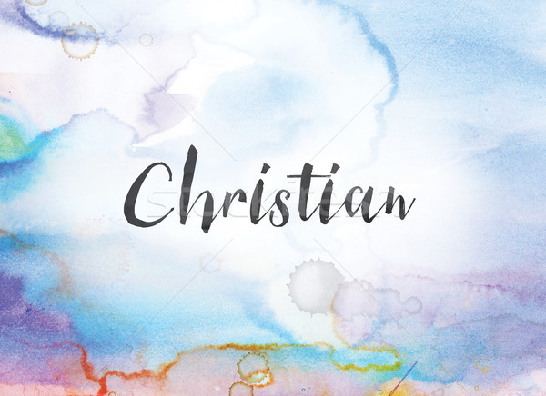 Christian Concept Watercolor and Ink Painting Stock photo © enterlinedesign