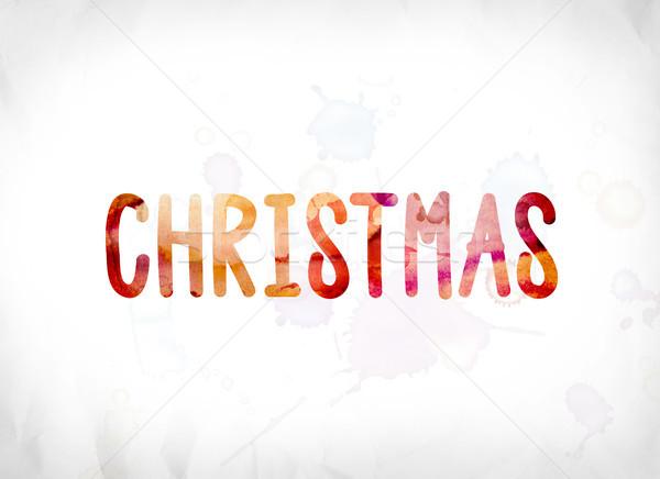 ストックフォト: クリスマス · 描いた · 水彩画 · 言葉 · 芸術 · カラフル