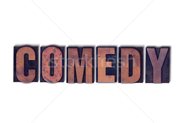 Komedia odizolowany słowo napisany vintage Zdjęcia stock © enterlinedesign
