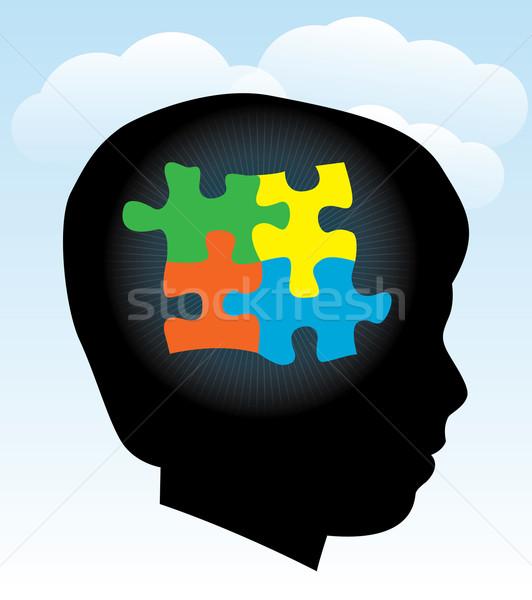 Kind Autismus Silhouette symbolische Puzzleteile eps Stock foto © enterlinedesign