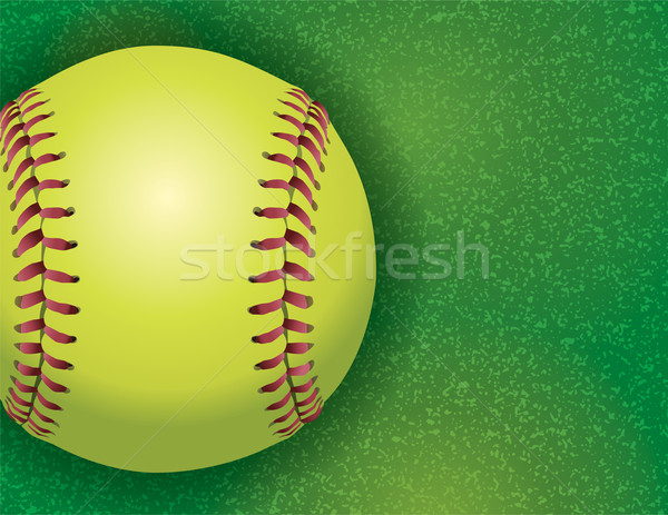 Softball champ d'herbe illustration réaliste Photo stock © enterlinedesign