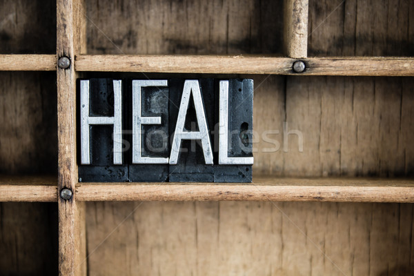 Heal Concept Metal Letterpress Word in Drawer Stock photo © enterlinedesign
