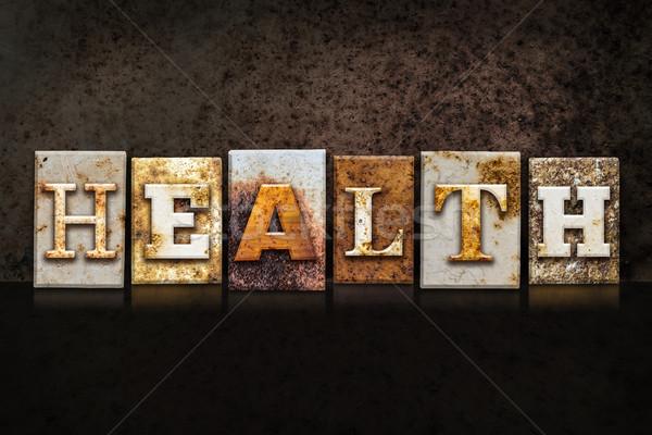 Health Letterpress Concept on Dark Background Stock photo © enterlinedesign