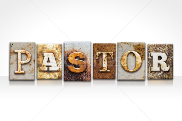 Pastor Letterpress Concept Isolated on White Stock photo © enterlinedesign