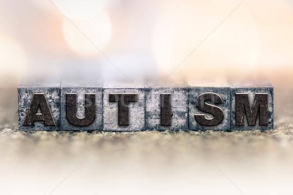 Autismo vintage tipo palavra escrito Foto stock © enterlinedesign