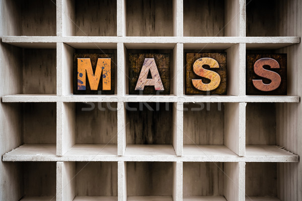 Mass Concept Wooden Letterpress Type in Drawer Stock photo © enterlinedesign