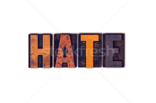 Hate Concept Isolated Letterpress Type Stock photo © enterlinedesign