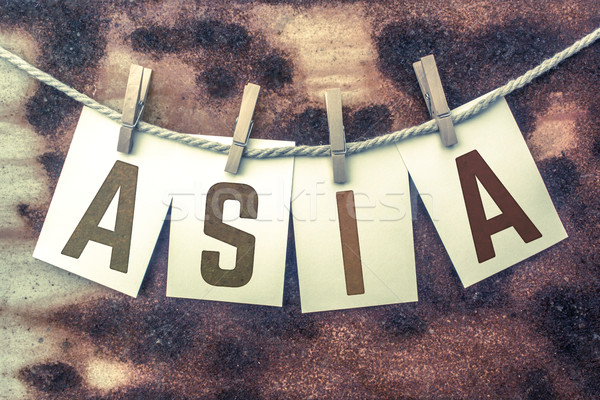 Asia Concept Pinned Stamped Cards on Twine Theme Stock photo © enterlinedesign