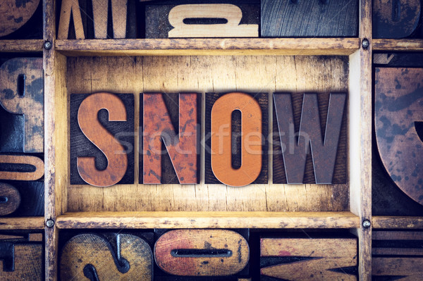 Snow Concept Letterpress Type Stock photo © enterlinedesign