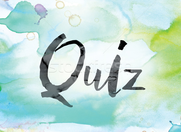 Quiz Colorful Watercolor and Ink Word Art Stock photo © enterlinedesign